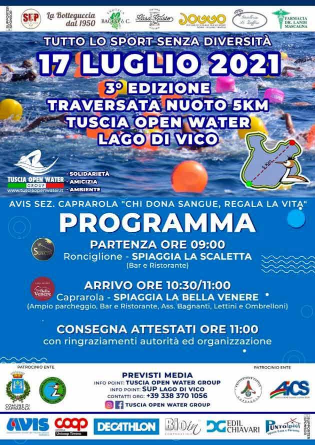 Locandina e programma della terza edizione traversata lago di vico a nuoto di 5 km